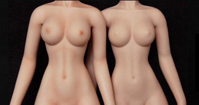 Körper-Makeup von Lovely Doll: links mit, rechts ohne Makeup